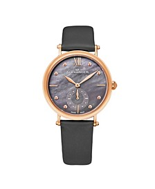 Alexander Watch A201-04, Ladies Quartz Small-Second Watch with Rose Gold Tone Stainless Steel Case on Gray Satin Strap