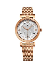 Alexander Watch A202B-04, Ladies Quartz Small-Second Date Watch with Rose Gold Tone Stainless Steel Case on Rose Gold Tone Stainless Steel Bracelet