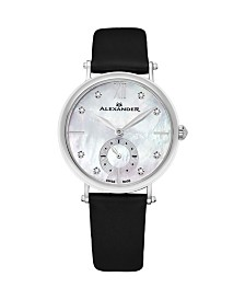 Alexander Watch AD201-01, Ladies Quartz Small-Second Watch with Stainless Steel Case on Black Satin Strap