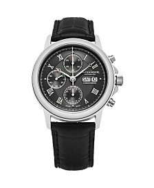 Alexander Watch A473-01, Stainless Steel Case on Black Alligator Embossed Genuine Leather Strap