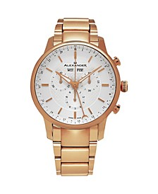 Alexander Watch A101B-04, Stainless Steel Rose Gold Tone Case on Stainless Steel Rose Gold Tone Bracelet