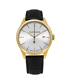 Alexander Watch A911-07, Stainless Steel Yellow Gold Tone Case on Black Embossed Genuine Leather Strap