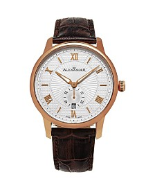 Alexander Watch A102-05, Stainless Steel Rose Gold Tone Case on Black Embossed Genuine Leather Strap