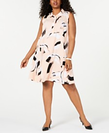 Alfani Plus Size Flared Shirtdress, Created for Macy's