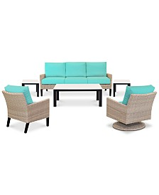 Amari Parchment Outdoor 6-Pc. Seating Set (1 Sofa, 1 Club Chair, 1 Swivel Chair, 1 Coffee Table & 2 End Tables) with Sunbrella® Cushions