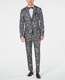 Men's Slim-Fit Stretch Black/White Plaid Floral Suit Separates