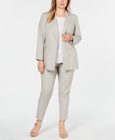 Calvin Klein Plus Size Blazer, Lace-Trim Top & Ankle Pants