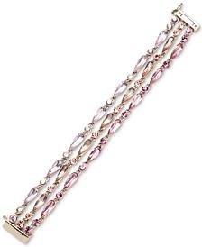 Givenchy Gold-Tone Pink Crystal Flex Bracelet