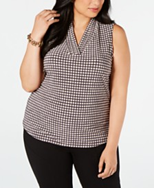 Anne Klein Plus Size Dot-Print V-Neck Top