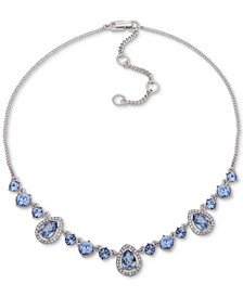 "Silver-Tone Crystal Frontal Necklace, 16"" + 3"" extender"