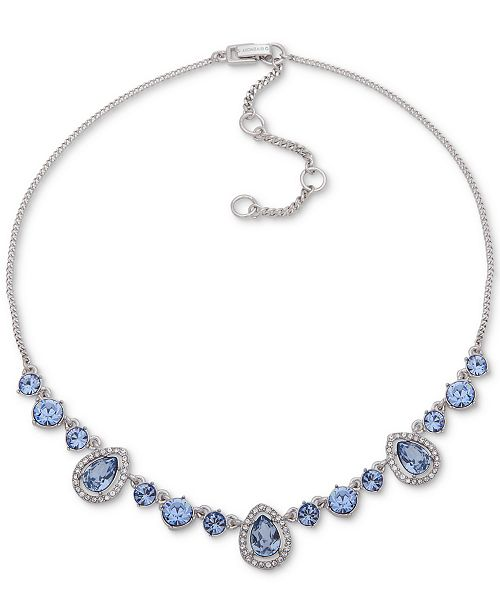 "Givenchy Silver-Tone Crystal Frontal Necklace, 16"" + 3"" extender"