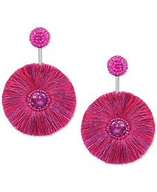 Deepa Silver-Tone Bead & Fringe Circle Drop Earrings