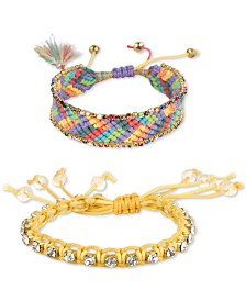 Deep Gold-Tone Crystal & Braided Thread Bolo Bracelets