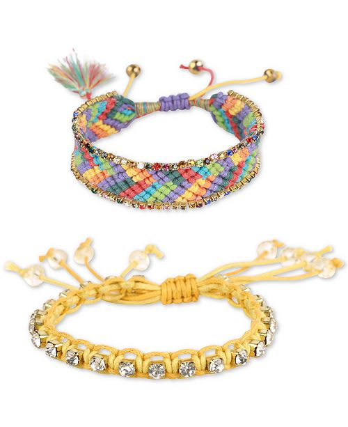 Deepa Deep Gold-Tone Crystal & Braided Thread Bolo Bracelets
