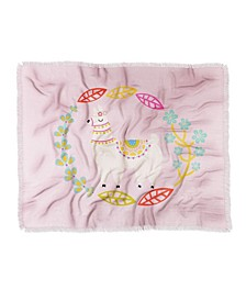 Hello Sayang Lola Llama Pink Woven Throw