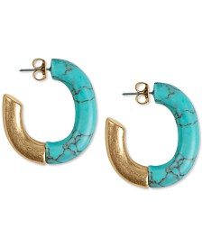 "Lucky Brand Gold-Tone Imitation Turquoise Half 1-9/10"" Large Hoop Earrings"