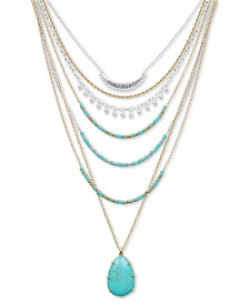 "Lucky Brand Two-Tone Imitation Turquoise 27"" Statement Necklace"