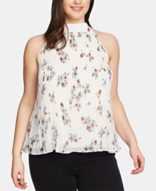 1.STATE Plus Size Pleated Floral-Print Halter Blouse