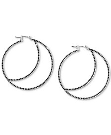 Lucky Brand Silver-Tone Crescent Hoop Earrings