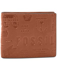 Fossil Men's Fred Embossed Flip-ID Leather Wallet