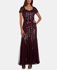 R & M Richards Sequinned Godet Gown