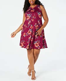BCX Trendy Plus Size Floral A-Line Dress