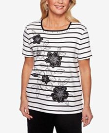 Alfred Dunner Cayman Islands Striped Embroidered Square-Neck Top