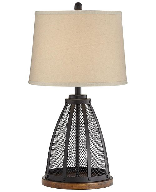 Pacific Coast Mesh Table Lamp with Wooden Base
