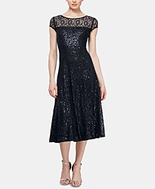Sequined Lace Midi Dress