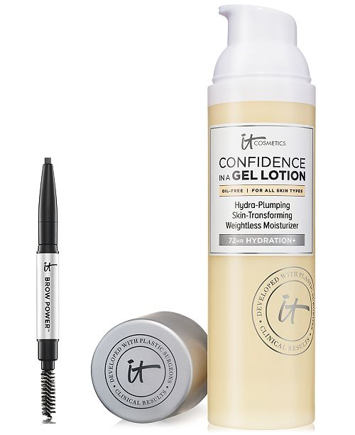 IT Cosmetics Limited Edition IT Cosmetics Set! Receive a Full-Size Confidence in a Gel Lotion and Trial-Size Brow Power- Only $36 with any Beauty Purchase! A $48 Value!