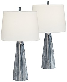 Poly Marble Look Table Lamps - Set of 2