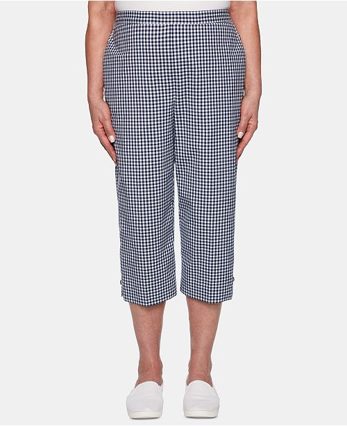 Alfred Dunner Petite In The Navy Gingham Cropped Pants