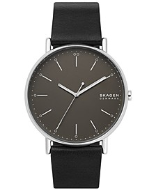 Men's Signature Black Leather Strap Watch 45mm