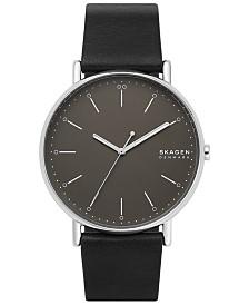 Skagen Men's Signatur Black Leather Strap Watch 45mm