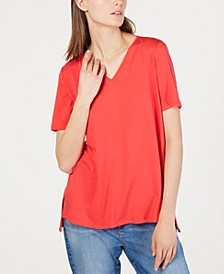 High-Low V-Neck Tencel ™ T-Shirt, Regular & Petite