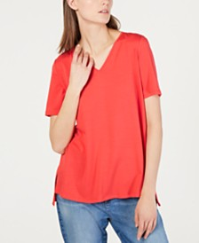 Eileen Fisher High-Low V-Neck Tencel ™ T-Shirt, Regular & Petite