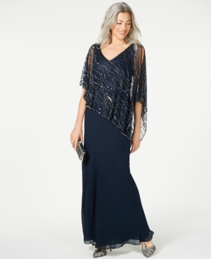 1920s Evening Dresses & Formal Gowns J Kara Beaded V-Neck Illusion-Overlay Gown $269.00 AT vintagedancer.com