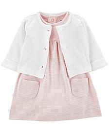 Baby Girls 2-Pc. Cotton Cardigan & Skirted Bodysuit Set