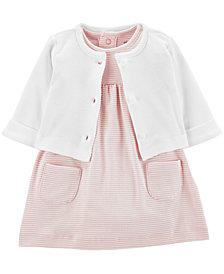 Carter's Baby Girls 2-Pc. Cotton Cardigan & Skirted Bodysuit Set