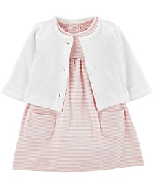 Carter's Baby Girls 2-Pc. Cotton Cardigan & Skirted Bodysuit Set