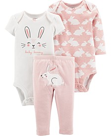 Baby Girls 3-Pc. Cotton Bunny Bodysuits & Pants Set