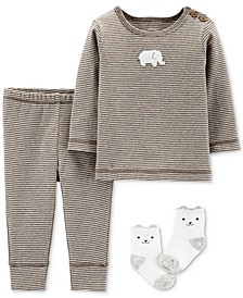 Baby Boys & Girls 3-Pc. Top, Pants & Socks Cotton Set