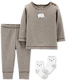 Baby Boys & Girls 3-Pc. Top, Pants & Socks Cotton Set