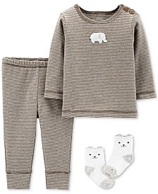 Carter's Baby Boys & Girls 3-Pc. Top, Pants & Socks Cotton Set