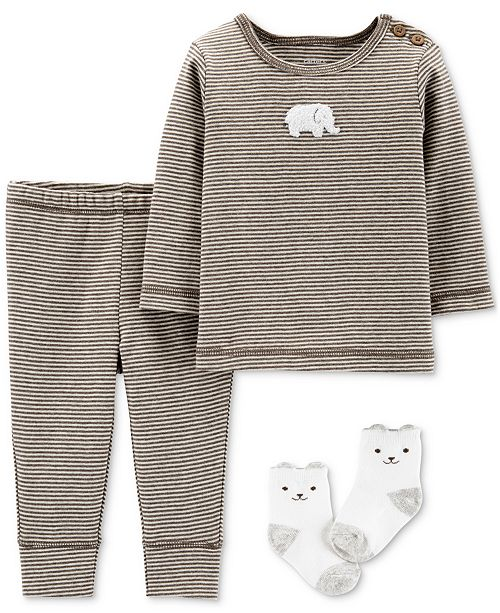 Carter's Baby Boys & Girls 3-Pc. Top, Pants & Socks Cotton Set