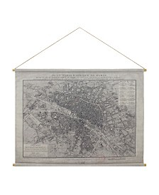"Brewster Home Fashions Paris Map Hanging Linen Tapestry - 51.5"" x 49.5"" x 0.125"""