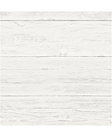 "White Washed Boards Wallpaper - 396"" x 20.5"" x 0.025"""