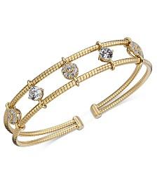 Eliot Danori Crystal Two-Row Cuff Bracelet, Created for Macy's