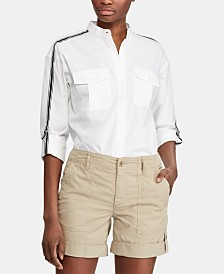 Lauren Ralph Lauren Stripe-Trim Cotton Shirt