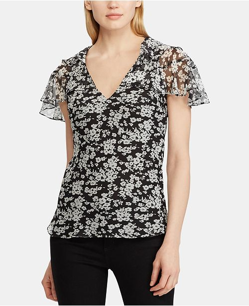Lauren Ralph Lauren Floral-Print Ruffled Georgette Top